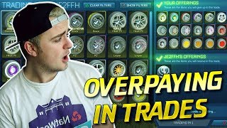 PAINTED EXOTICS ONLY FOR CRATES! *OMG* OVERPAYING IN TRADES!   TRADING WITH FANS IN ROCKET LEAGUE #2