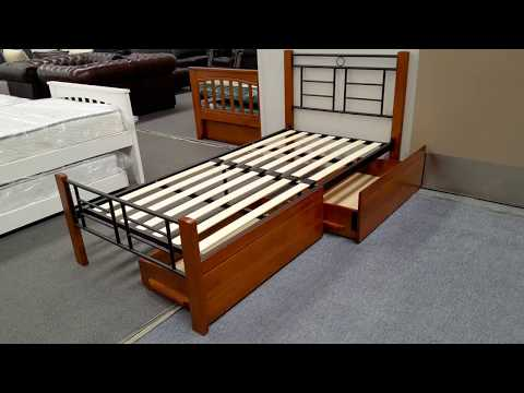 Single Bed Topaz Solid Construction in Antique Oak & Black Colour Malaysian Made