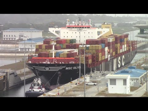 Container Ship MSC SILVIA at Agua Clara Locks - Expanded Panama Canal  (April 30, 2017)