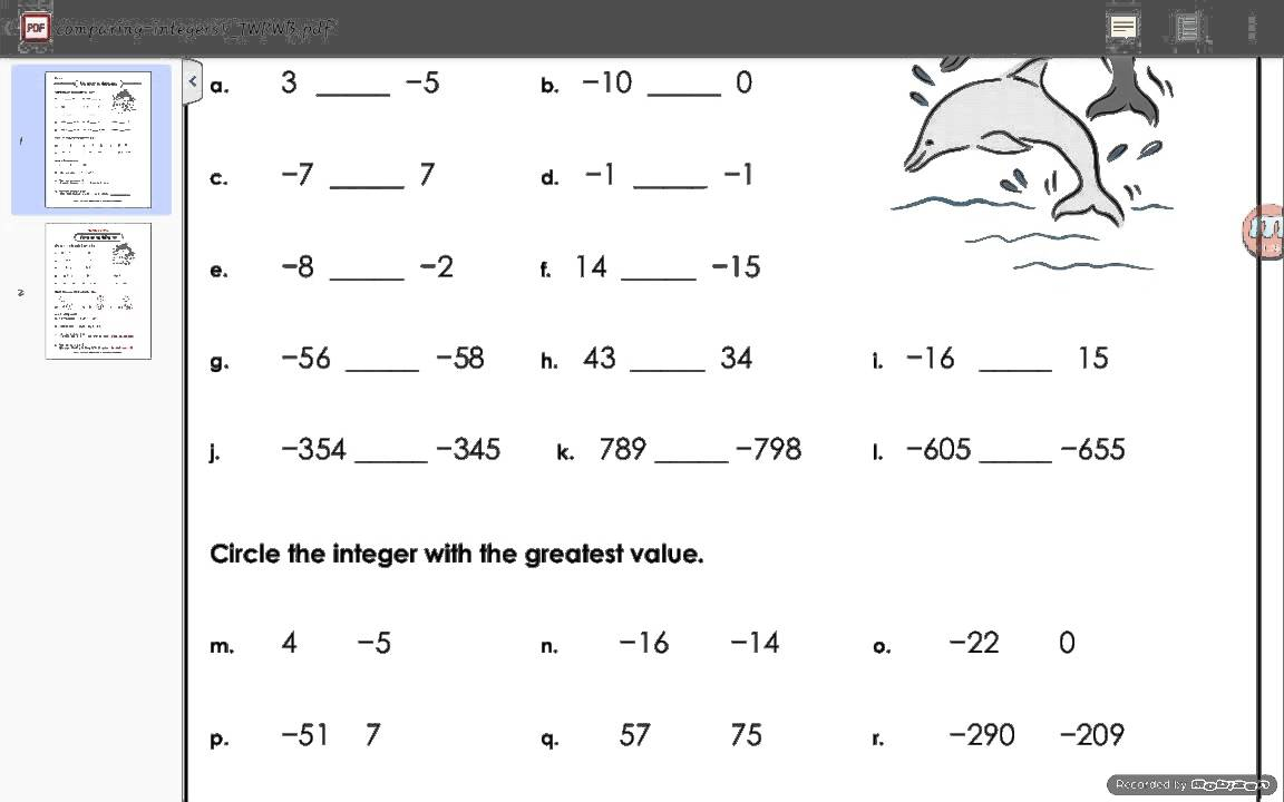 Worksheets Integer Worksheet comparing integers worksheet answers youtube