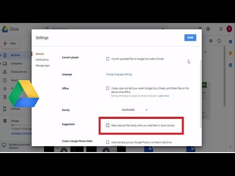 How to Disable  Quick Access From Google Drive