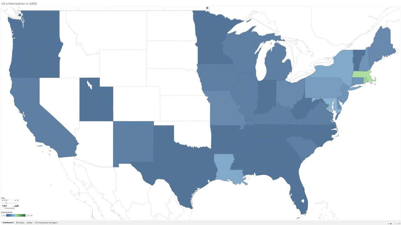 US Urbanization By State Through YouTube - Urbanization map us