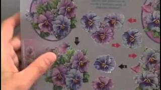Pansies Metallic 3-D Paper Tole Sheet by Ecstasy Crafts
