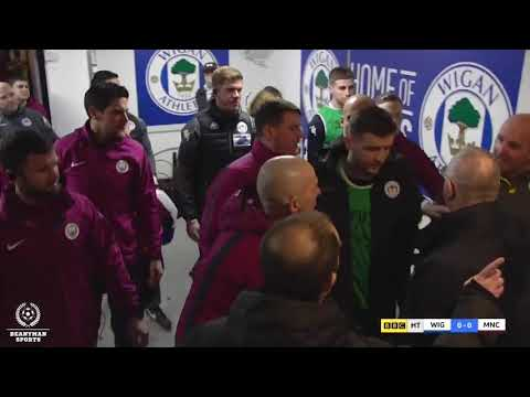Pep Guardiola shoves the referee after losing to Wigan Athletic!