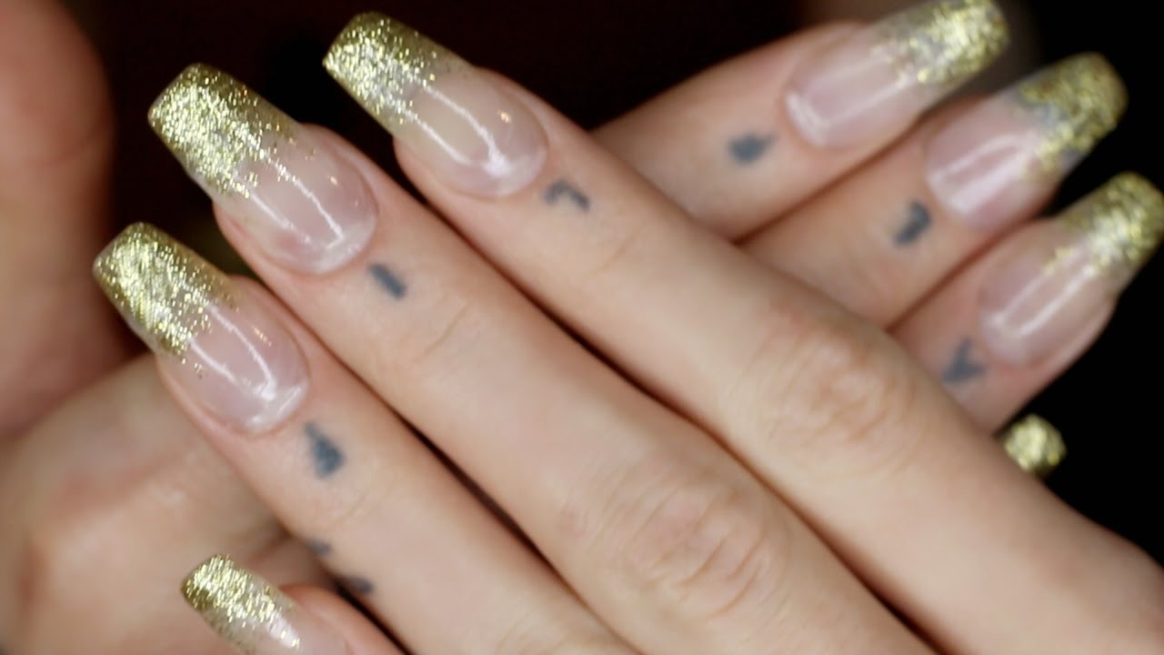 ASMR long nail tutorial   glitter fade manicure (tapping, scratching ...