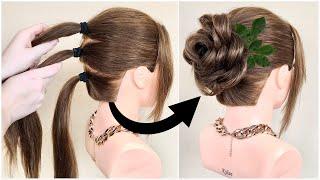 Красивая Прическа которую легко сделать себе Простой пучок под платье Easy bun hairstyle
