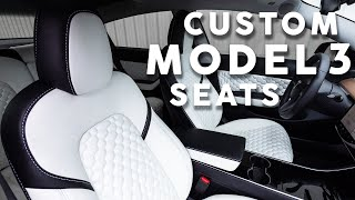 Custom CNC Tesla Model 3 Leather Seat Upholstery Kit - LeatherSeats.com PRIME Department