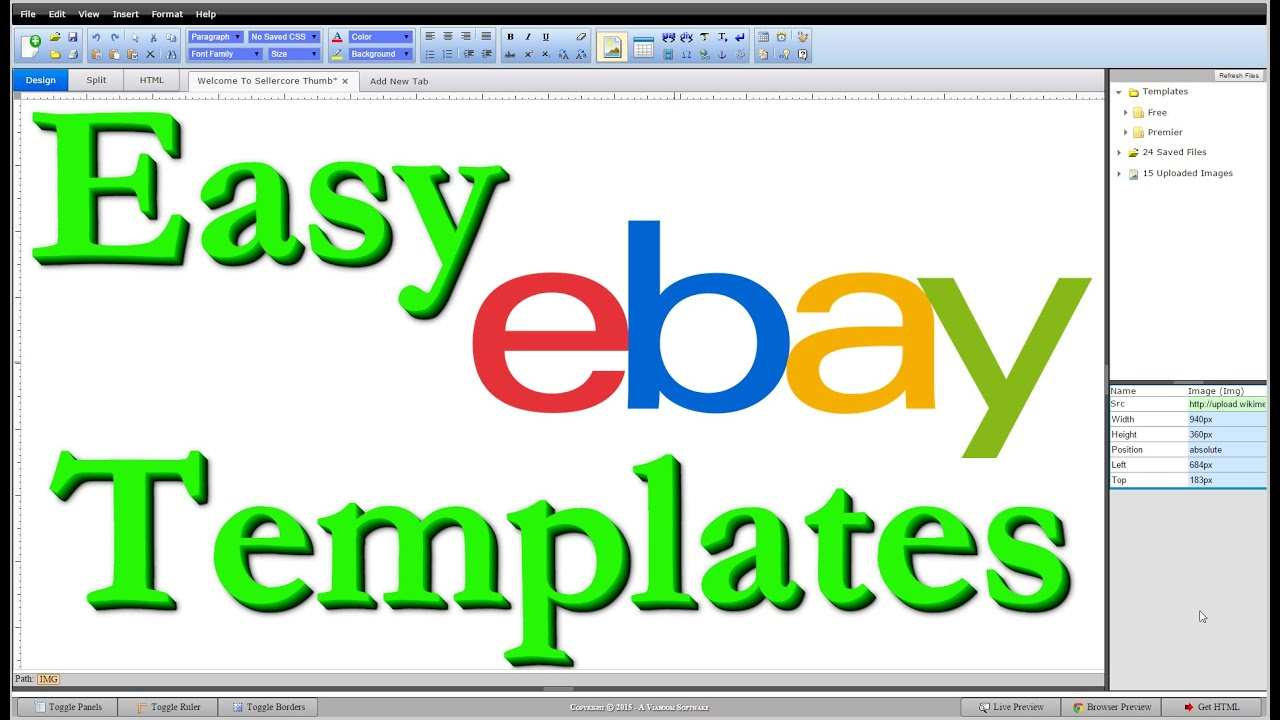 How To Make Free EBay Templates HTML Step By Step Editing Tutorial - Ebay listing template creator