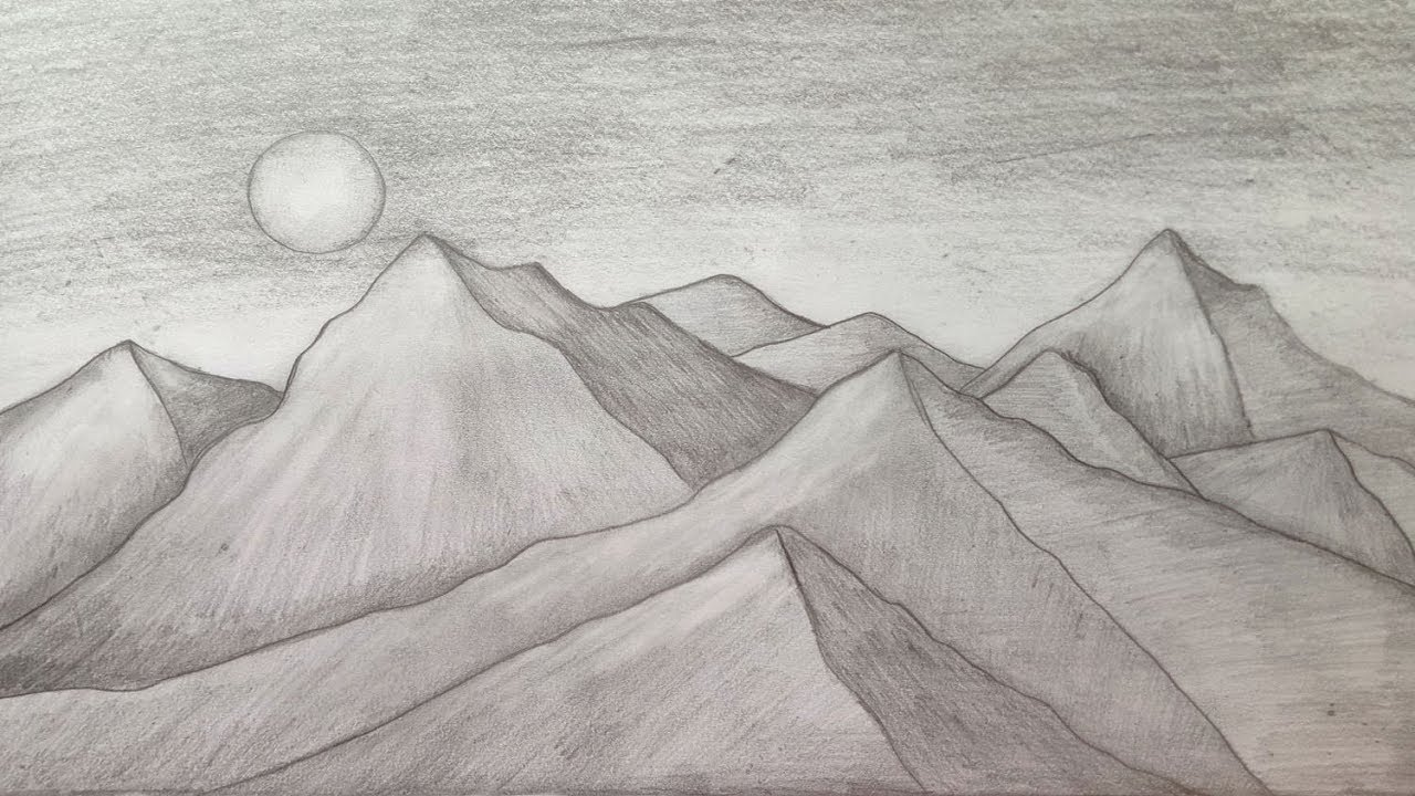 How to draw mountain landscape scenery of moonlight with pencil sketch step by stepeasy draw