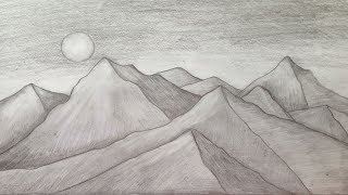 mountain pencil drawing easy drawings step draw landscape scenery sketch paintingvalley
