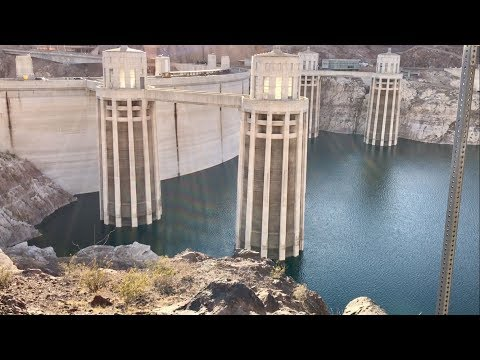 Hoover Dam SUPER LOW WATER LEVEL IN THE WEST 2017