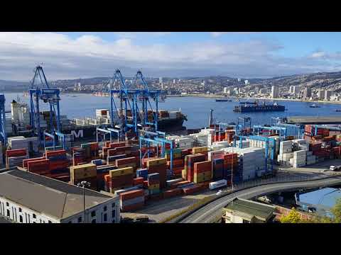Gorgeous Views of Massive Container Ship in Valparaiso Harbor Chile