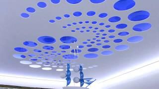 Резной натяжной потолок с подсветкой в детскую.