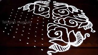 Shanqu kolam designs with15-8 middle | chukkala muggulu with dots| rangoli design