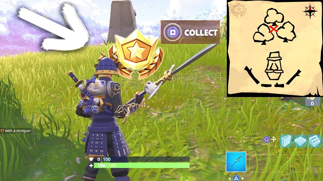 Follow The Treasure Map Found In Dusty Divot Location Fortnite Week
