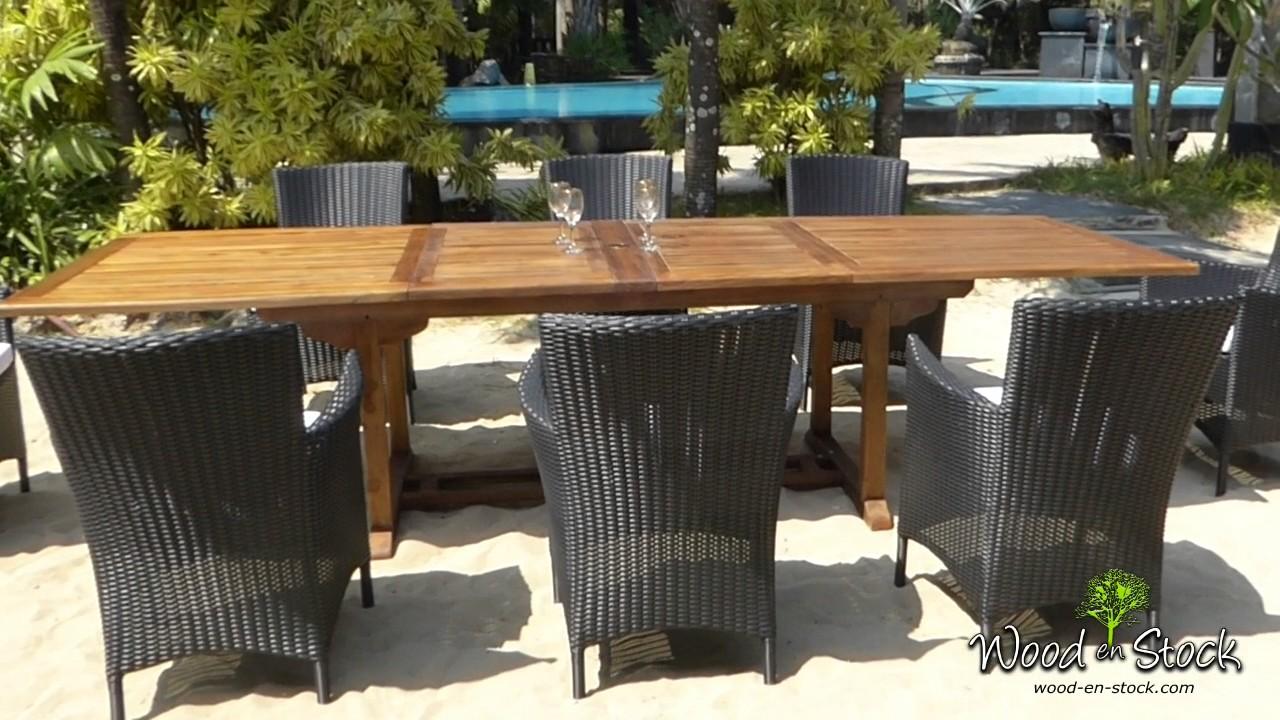 Salon de jardin en teck borneo et 8 fauteuils en résine tressée s ...