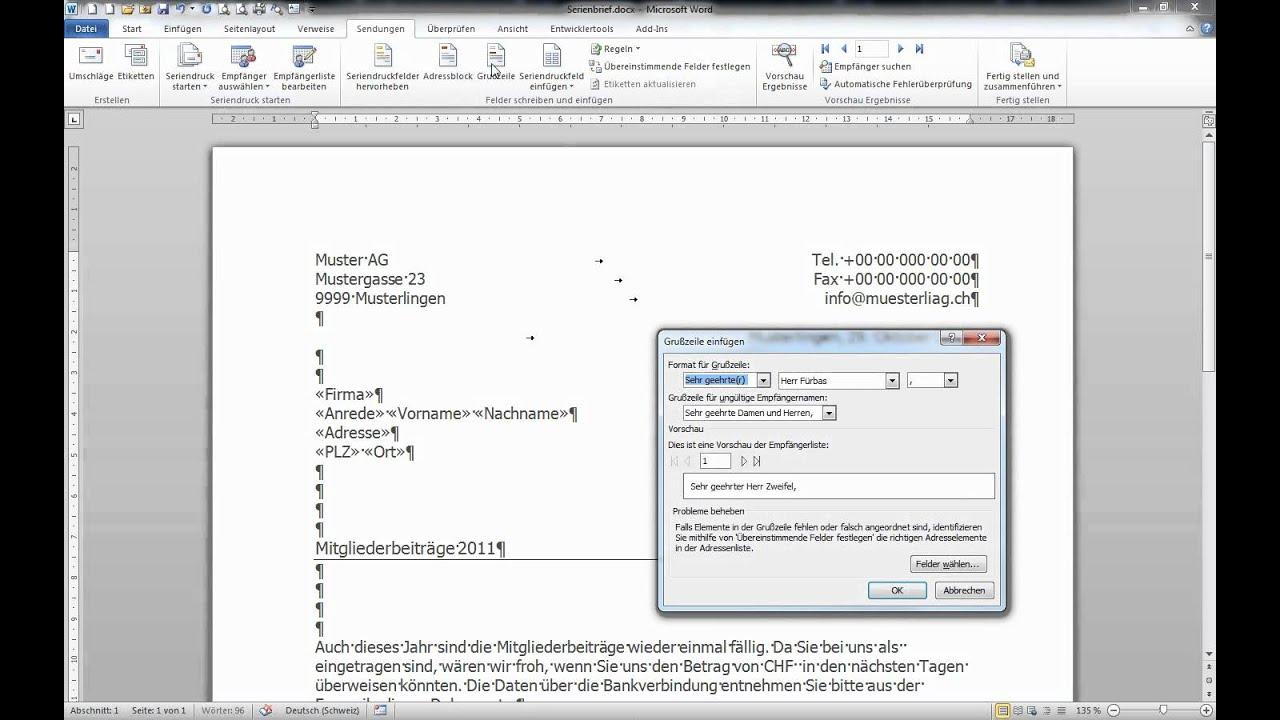beispiel serienbrief microsoft word 2010 wenn dann sonst