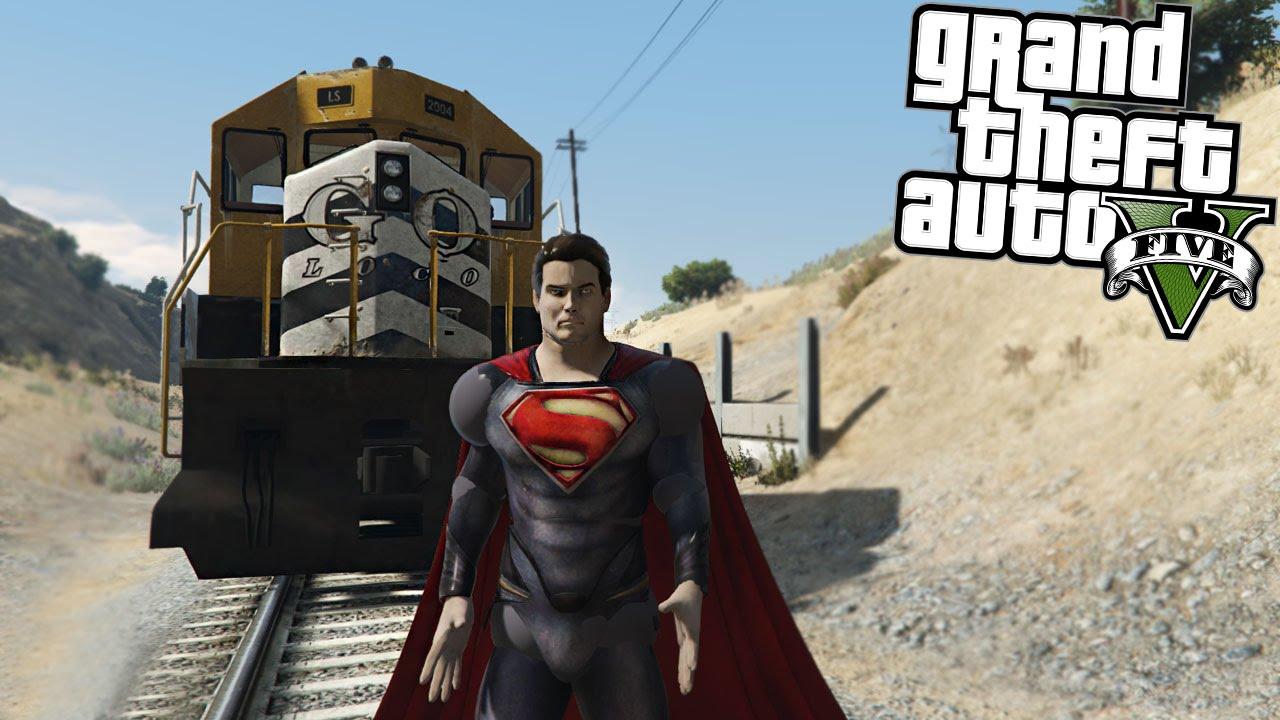 GTA 5 Mods Superman vs Train