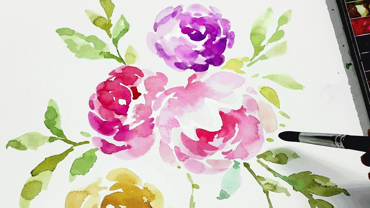 watercolor flower painting step