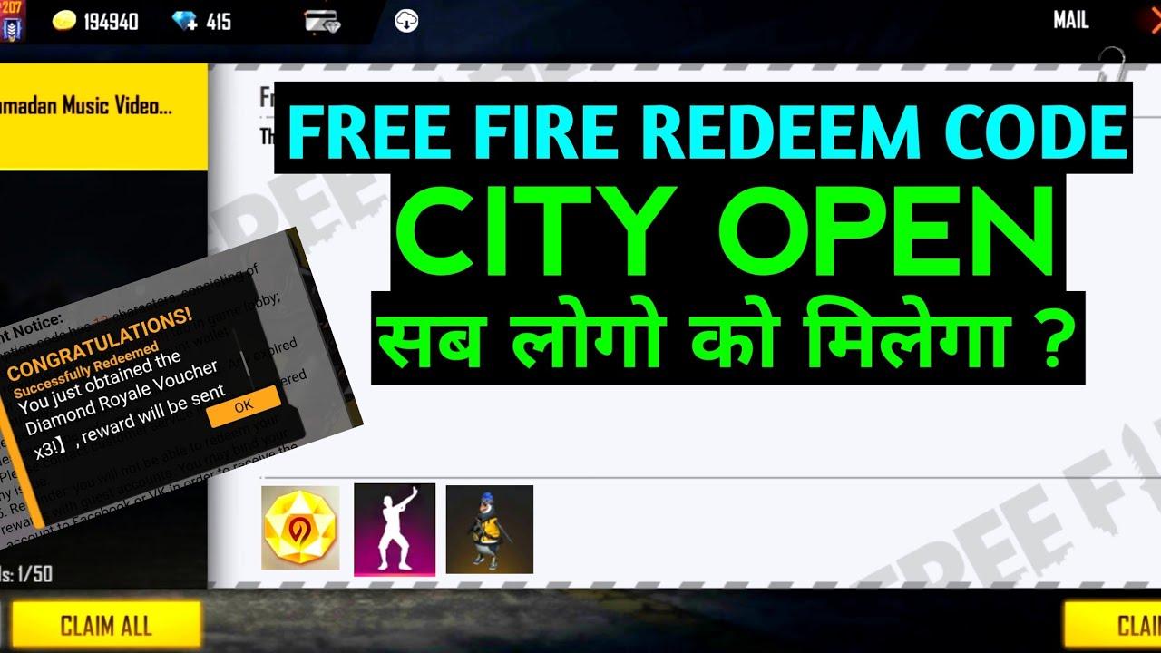 FREE FIRE 27 REDEEM CODE! CITY OPEN REDEEM CODE ! FREE FIRE REDEEM CODE 27 JULY