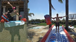 EPIC SLIP N SLIDE INTO POOL *BAD IDEA AGAIN?*