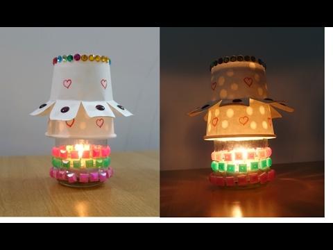 How to make DIY Night Lamp ~ Easy Paper Cup Lamp ~ Diwali Decor / Room Decor ~ Tutorial ..