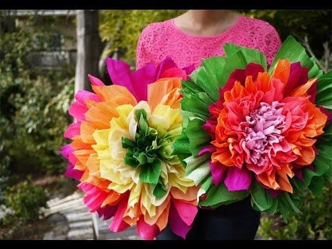Blumen aus krepppapier basteln. Blumen aus krepppapier. - YouTube