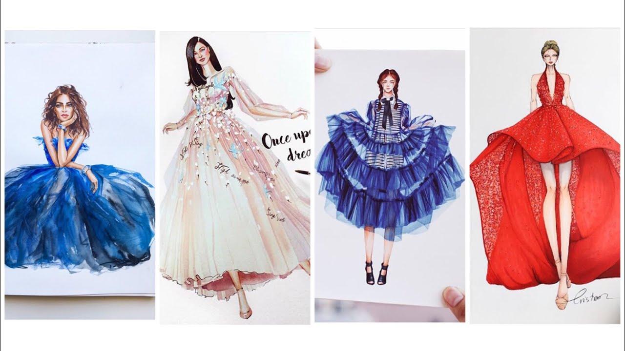 FASHION ILLUSTRATION/Thiết Kế Thời Trang/ Bản Vẽ Váy Dạ Hội Tuyệt Đẹp