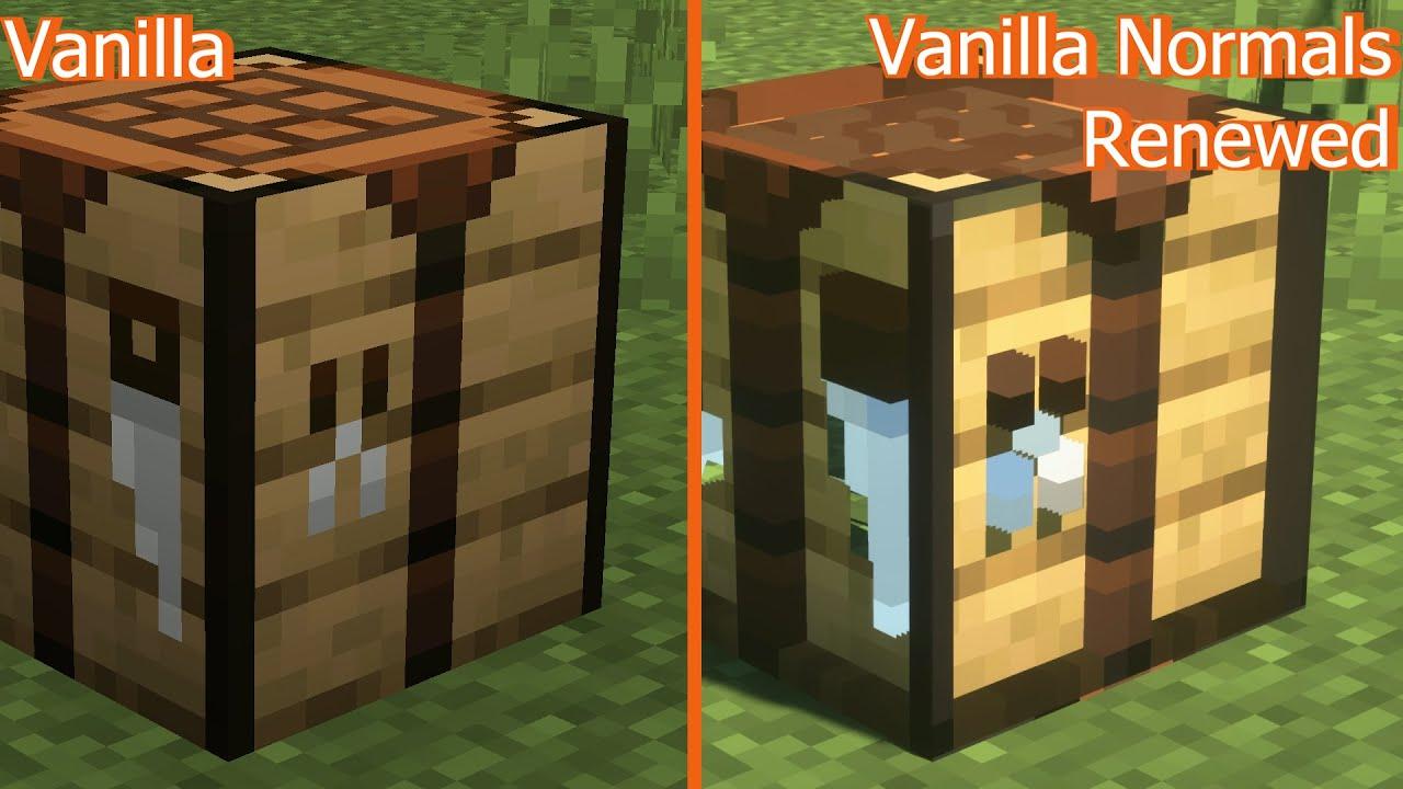 Minecraft Vanilla vs Vanilla Normals Renewed  Texture Comparison