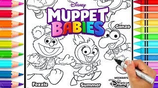 Muppet Babies Coloring Page | Disney Jr. Muppet Babies Coloring Book | Glitter Art | Rainbow Colors