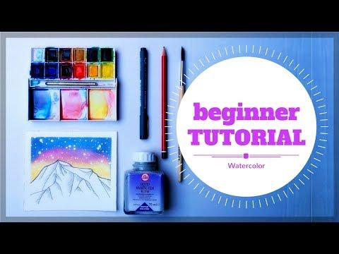 Beginner watercolor tutorial | Mountain landscape