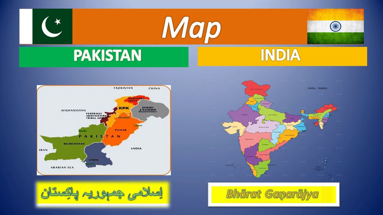 Map of India and Pakistan | Comparison India and Pakistan