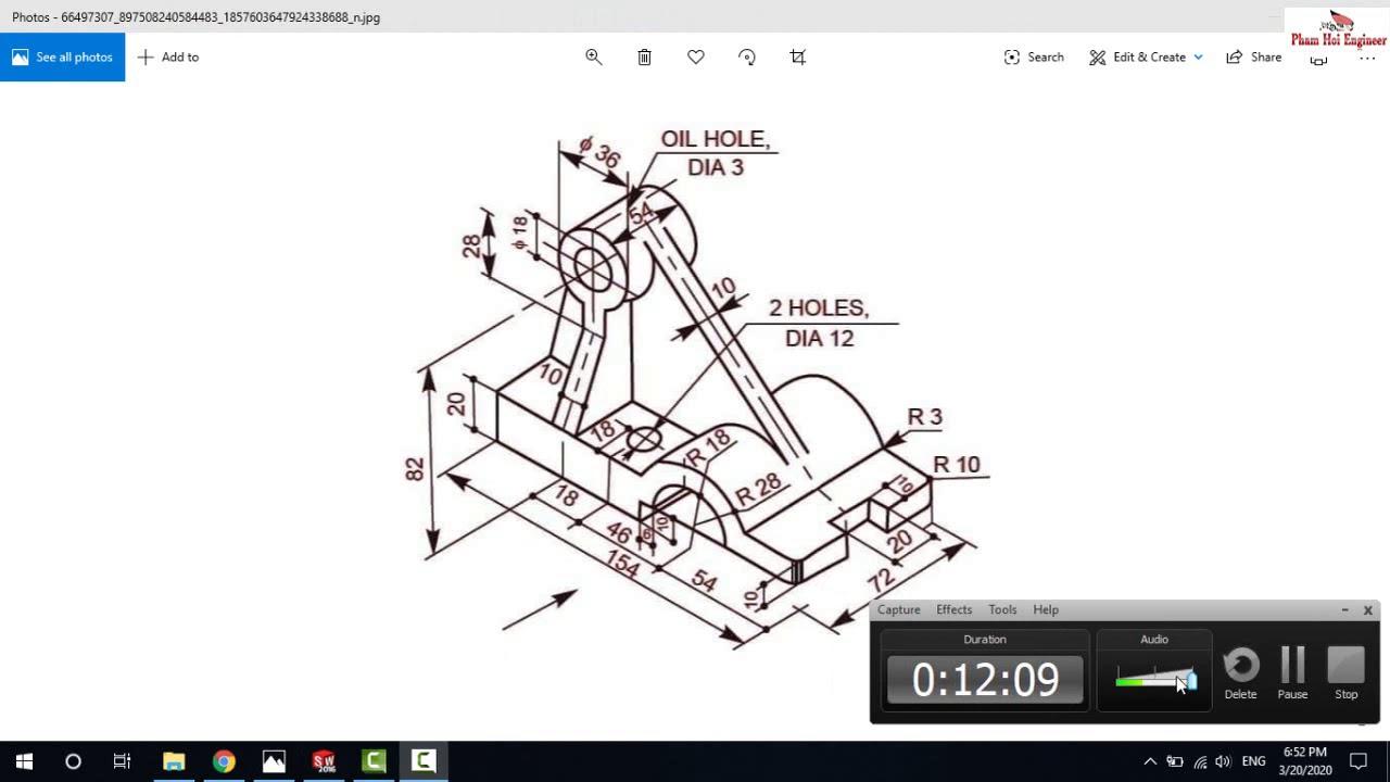 Bài 5. Học Solidworks cơ bản -Thực hành trên bản vẽ