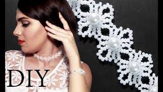 "DIY: Wedding ""Lace"" beaded choker (necklace) with pearls / Свадебный чокер ""Кружево"" из бисера"