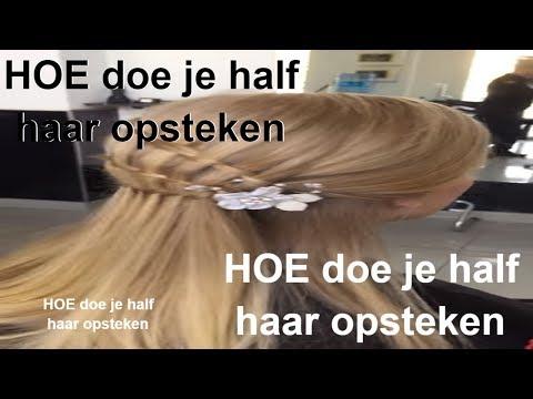 HOE doe je half haar opsteken for lang haar,, updo hairstyle long hair,1-Amal Hermuz
