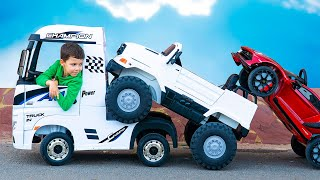 Artem and Vehicles | Children's story with Theft of toy cars on Power Wheels