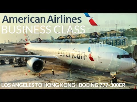 AMERICAN AIRLINES BUSINESS CLASS LOS ANGELES TO HONG KONG AA193 LAX-HKG   BOEING 777-300ER