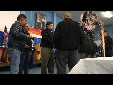 Newly elected Grand Chief Brian Hardlotte of the Prince Albert Grand Council receives his Headdress