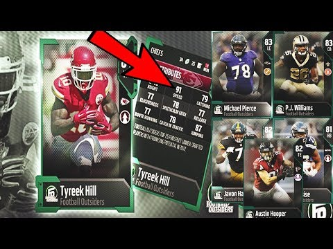 91 SPEED TYREEK HILL FOOTBALL OUTSIDERS! FOOTBALL OUTSIDERS CARD REVIEW | MADDEN 18 ULTIMTE TEAM
