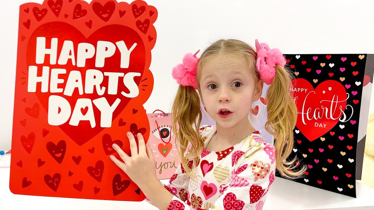 Nastya makes gifts to friends for Valentine's Day