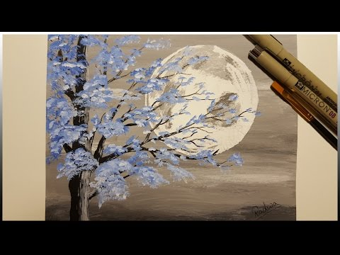 Painting The Moon | Blue Tree | Timelapse