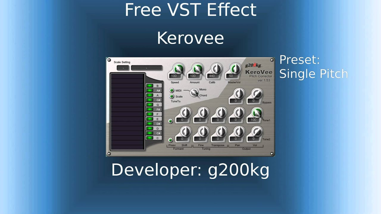 Free VST Effect - KeroVee (Pitch Correction Plugin, Like AutoTune) - YouTube