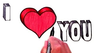 how to draw i love you in bubble letters