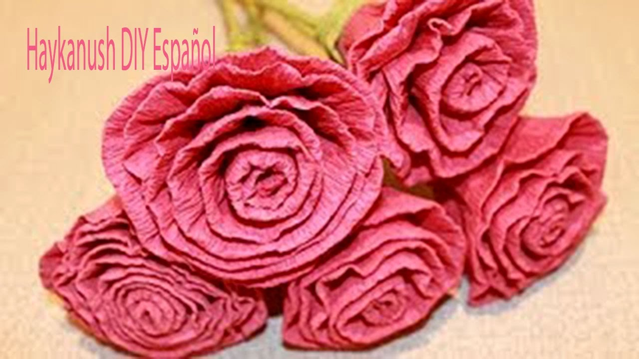 Como hacer flores rosas de papel crepe faciles youtube for Rosas de papel