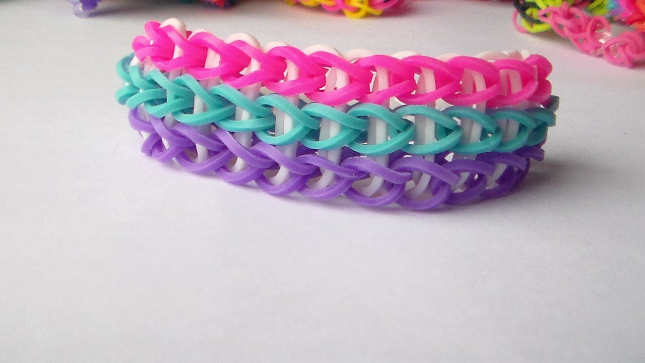 How to make the rainbow loom TrippleComo Hacer Pulseras De Goma