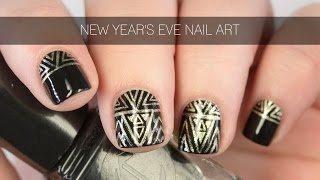 New Year's Eve Geometric Art Deco Nail Art Tutorial | Intermediate | Freehand | The Nailasaurus
