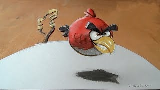 How to Draw Angry Bird - Drawing 3D Red Bird Illusion - VamosART
