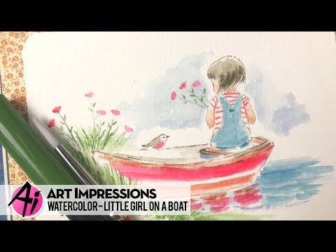 Ai Watercolor - Little Girl on a Boat