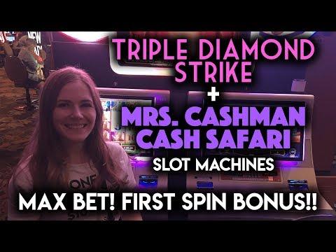 Mrs Cashman CASH Safari First Spin BONUS Re-Trigger!!! Triple Strike Diamonds Max Bet!