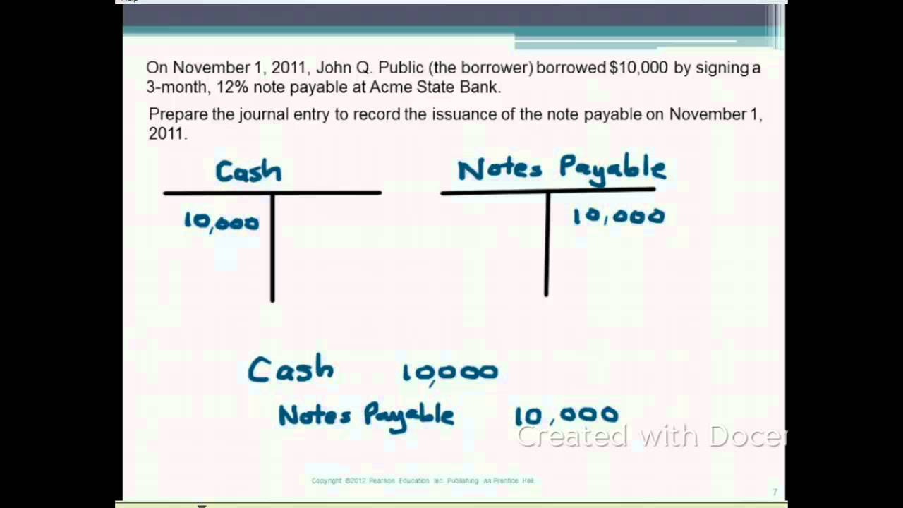 91 Short Term Notes Payable YouTube – Note Payables